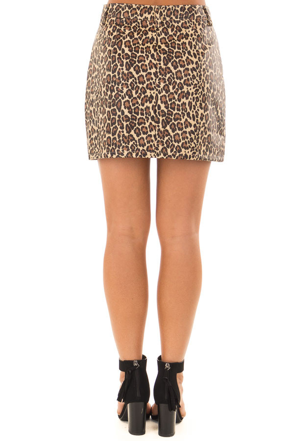 Leopard Print Faux Leather High Waisted Mini Skirt back view
