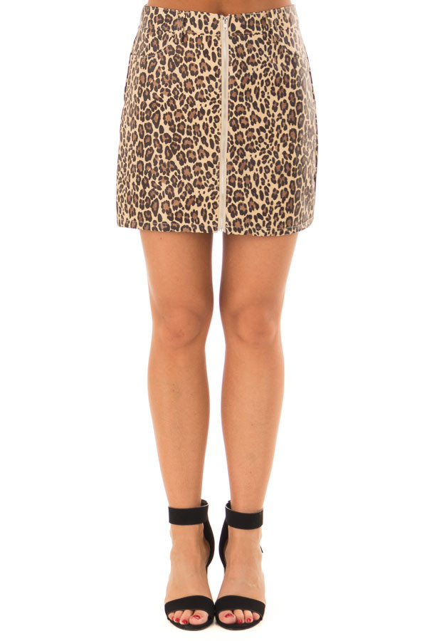 Leopard Print Faux Leather High Waisted Mini Skirt front view