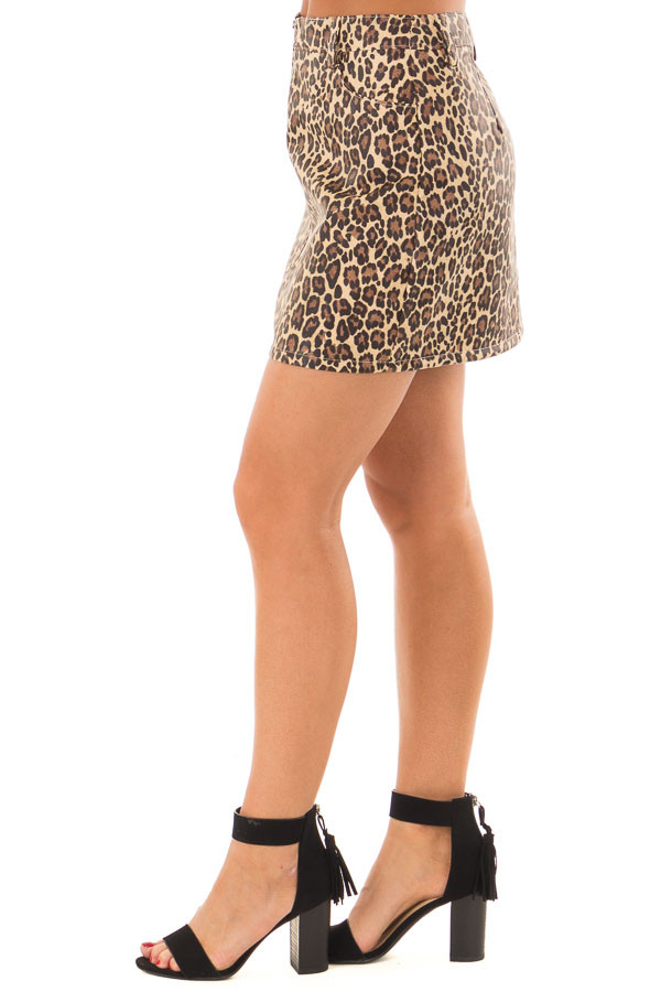 Leopard Print Faux Leather High Waisted Mini Skirt side view