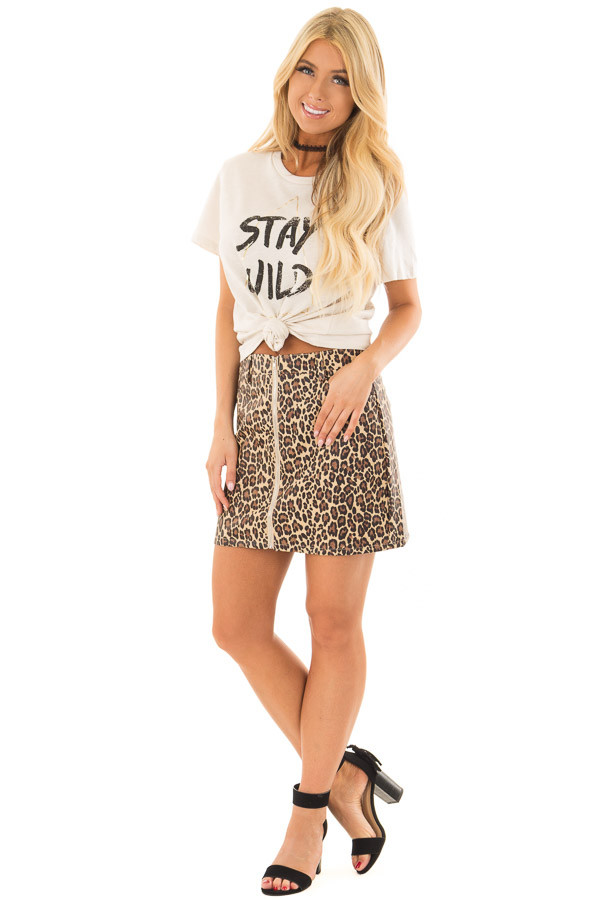 Leopard Print Faux Leather High Waisted Mini Skirt front full body