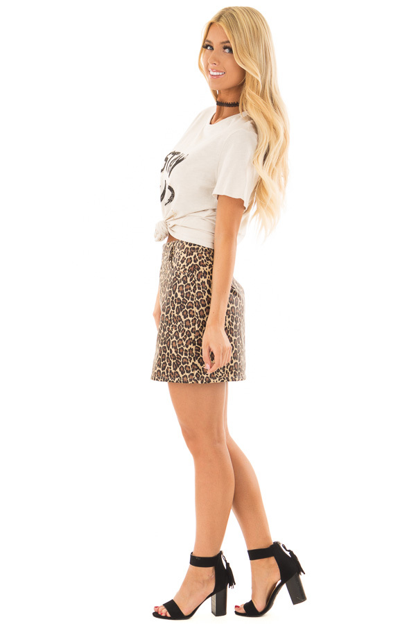 Leopard Print Faux Leather High Waisted Mini Skirt side full body