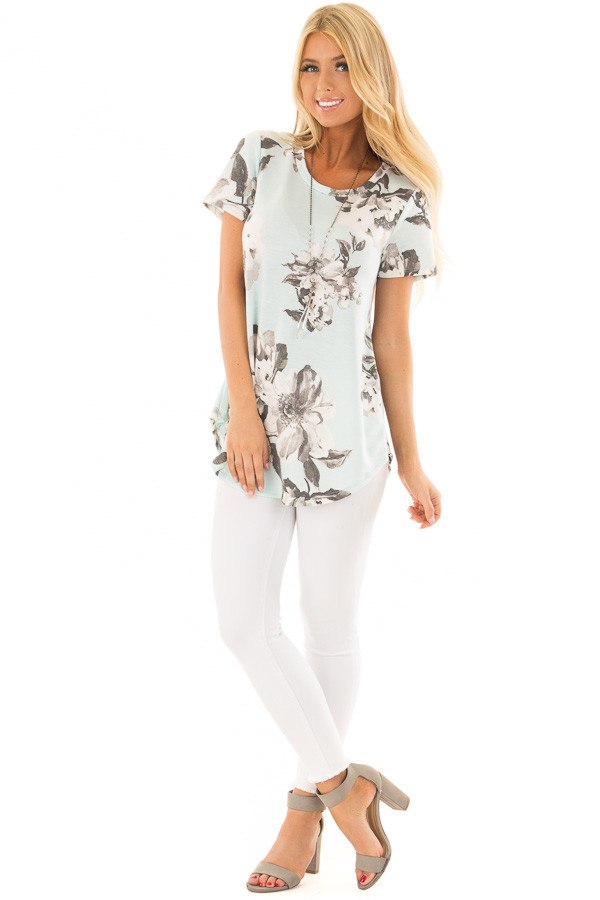 Mint Blue Floral Print Short Sleeve Top front full body