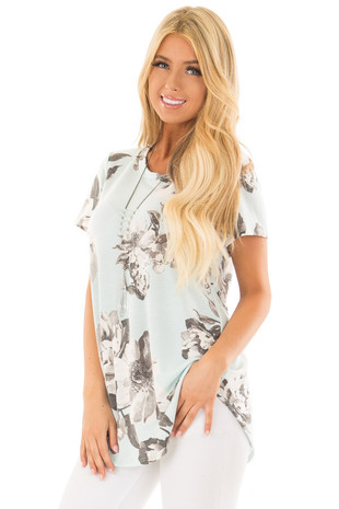 Mint Blue Floral Print Short Sleeve Top front close up