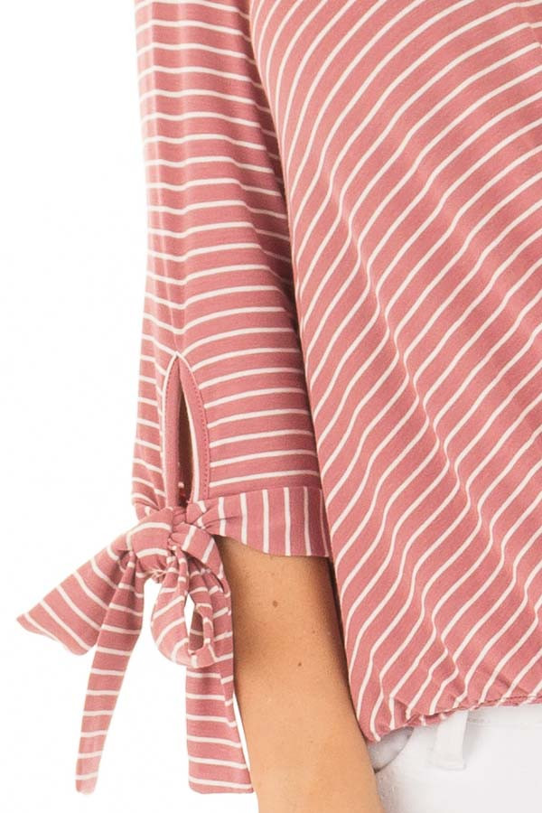 Mauve and Ivory Striped Criss Cross Drape Top detail
