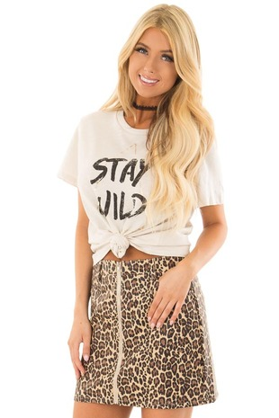 Cream Short Sleeve 'Stay Wild' Top front close up