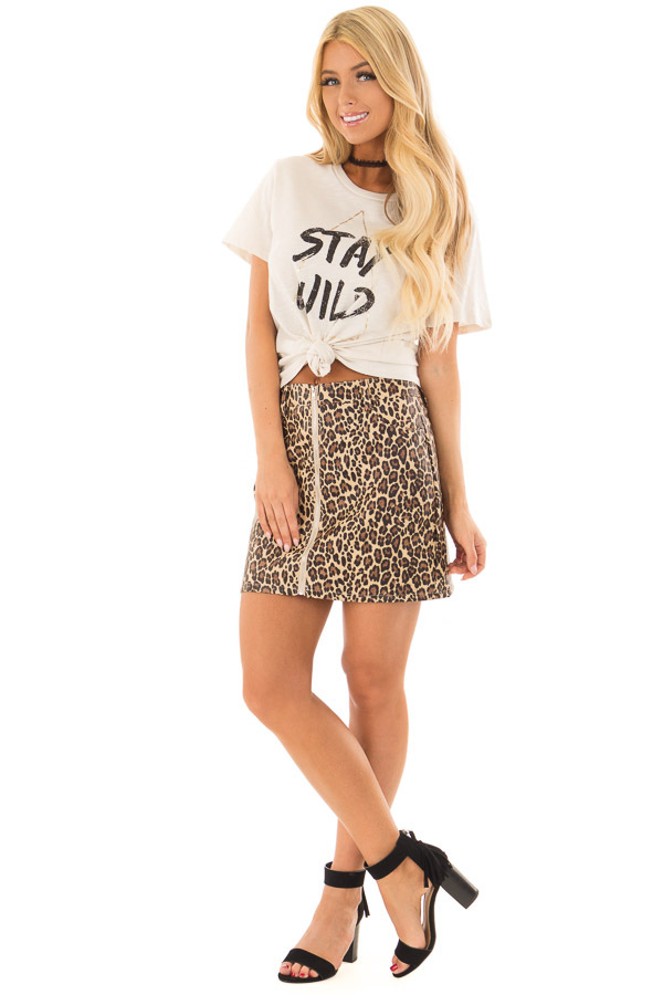 Cream Short Sleeve 'Stay Wild' Top front full body