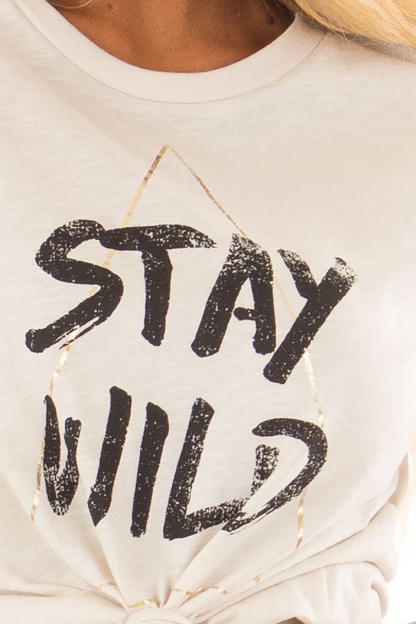 Cream Short Sleeve 'Stay Wild' Top detail
