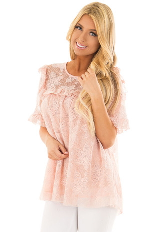 Blush Lace Blouse with Sheer Yoke and Ruffle Details front close up