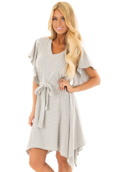 Heather Grey and White Striped Dress with Waist Tie front close up