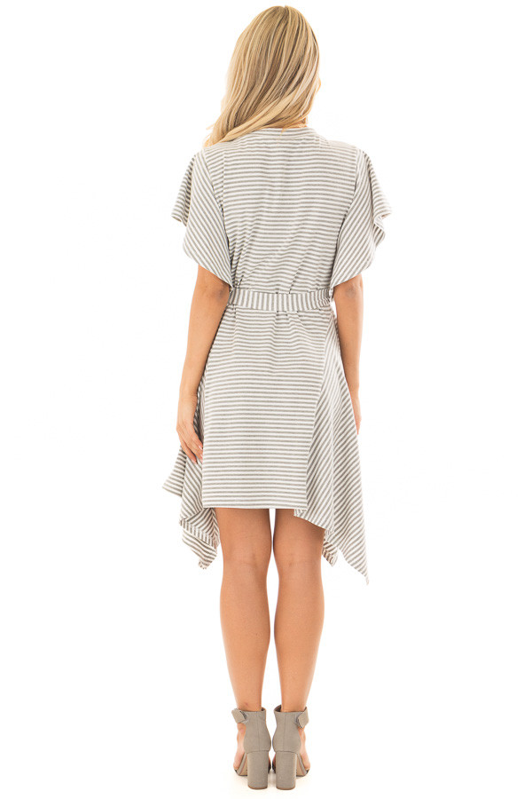 Heather Grey and White Striped Dress with Waist Tie back full body