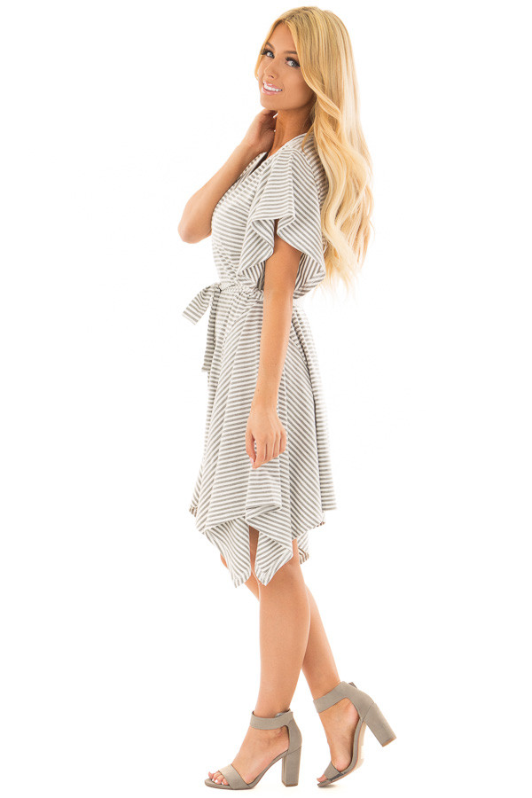 Heather Grey and White Striped Dress with Waist Tie side full body