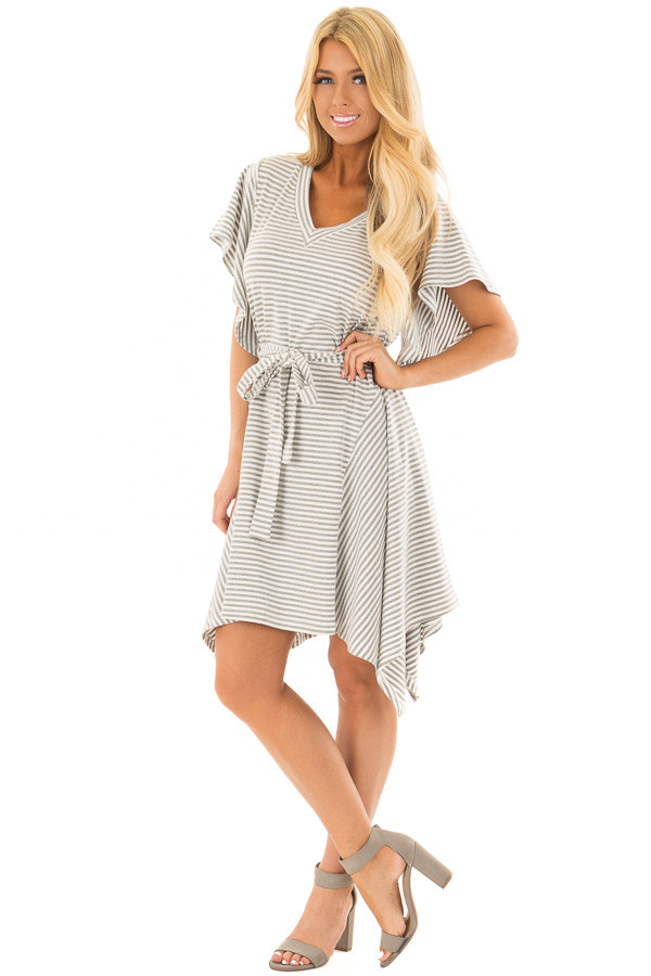 Heather Grey and White Striped Dress with Waist Tie front full body