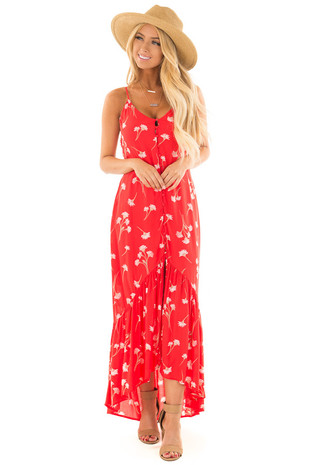 Scarlet Floral Print Dress with Open Back front full body