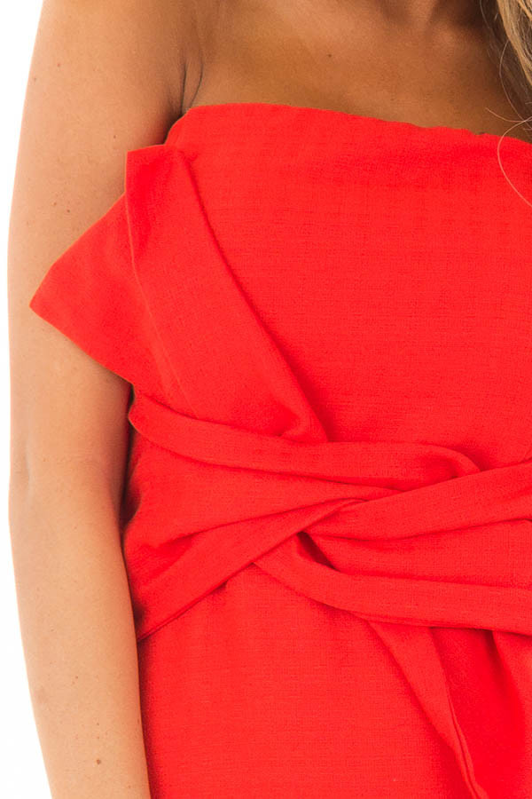 Scarlet Red Sleeveless Dress with Waist Tie Detail detail
