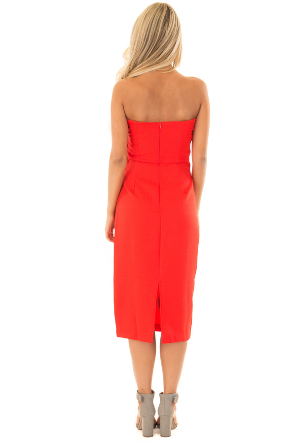 Scarlet Red Sleeveless Dress with Waist Tie Detail back full body