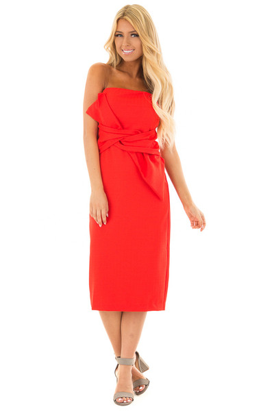 Scarlet Red Sleeveless Dress with Waist Tie Detail front close up
