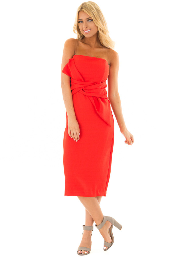 Scarlet Red Sleeveless Dress with Waist Tie Detail front full body