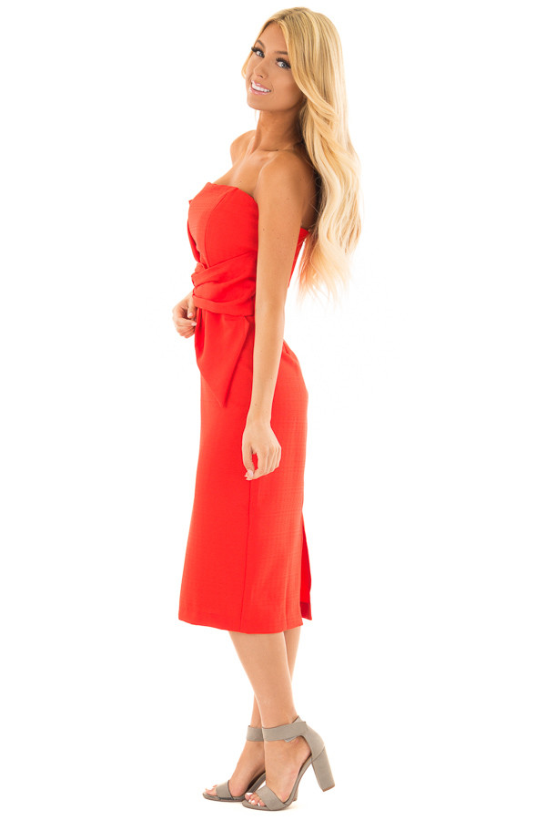Scarlet Red Sleeveless Dress with Waist Tie Detail side full body