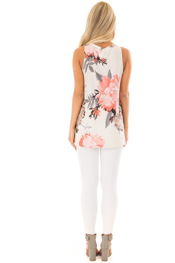 Ivory Floral Print Tank Top with Keyhole Neckline back full body