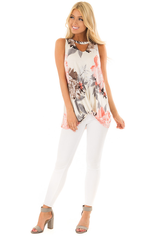 Ivory Floral Print Tank Top with Keyhole Neckline front full body