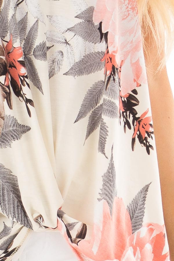 Ivory Floral Print Tank Top with Keyhole Neckline detail