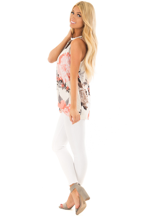 Ivory Floral Print Tank Top with Keyhole Neckline side full body
