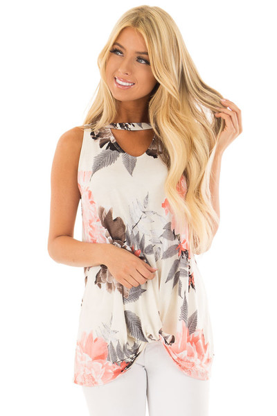 Ivory Floral Print Tank Top with Keyhole Neckline front close up