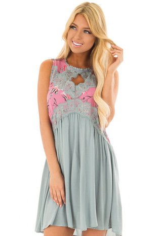 Sage Shift Dress with Berry Floral Print Contrast front close up