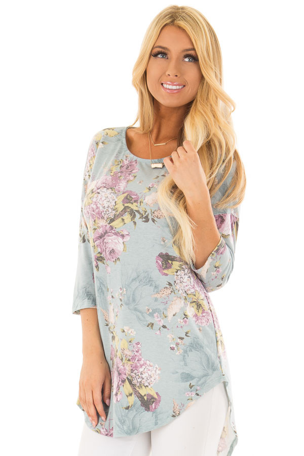 Dusty Light Blue 3/4 Sleeve Floral Print Tunic front close up