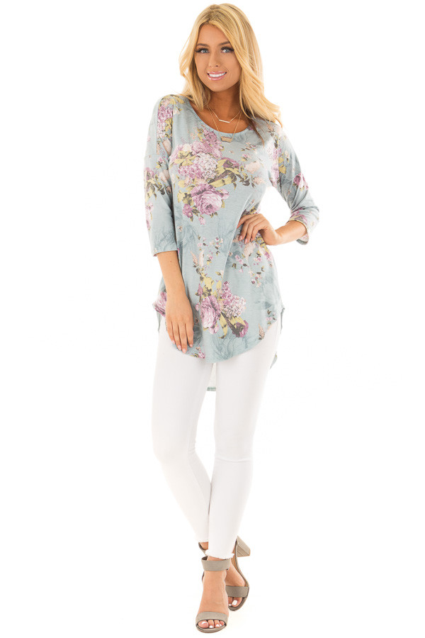Dusty Light Blue 3/4 Sleeve Floral Print Tunic front full body