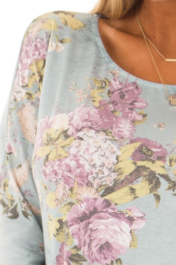 Dusty Light Blue 3/4 Sleeve Floral Print Tunic detail