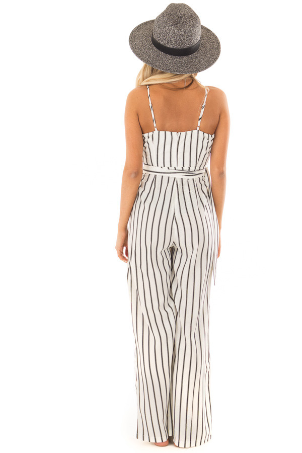 Black and Ivory Striped Jumpsuit with Waist Belt back full body