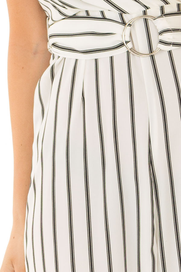 Black and Ivory Striped Jumpsuit with Waist Belt detail