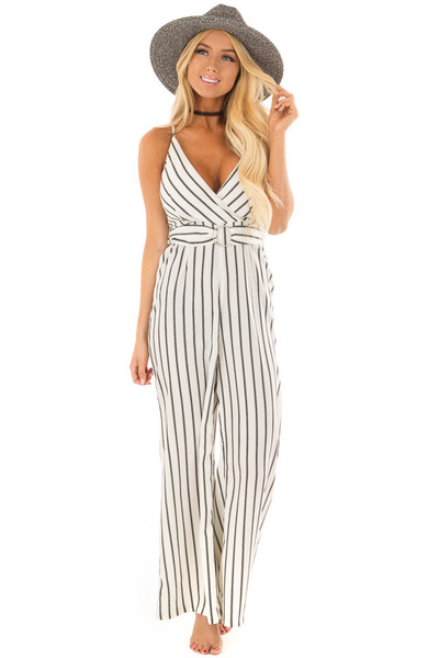 Black and Ivory Striped Jumpsuit with Waist Belt front full body