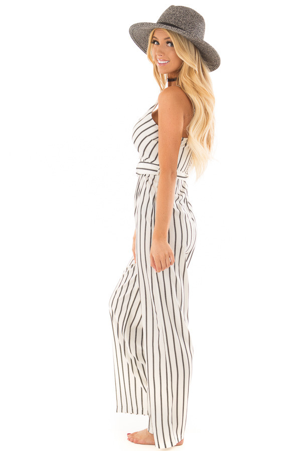 Black and Ivory Striped Jumpsuit with Waist Belt side full body