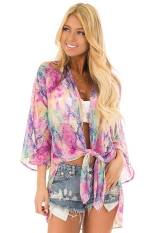 Colorful Watercolor Snake Skin Print Kimono front close up