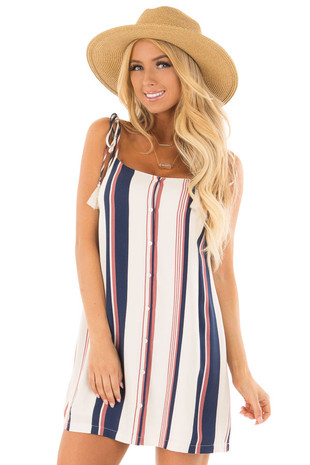 Ivory Navy and Mauve Striped Tank Top Dress front close up