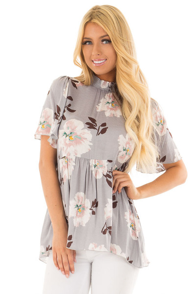 Steel Grey Floral Print High Neck Blouse front close up