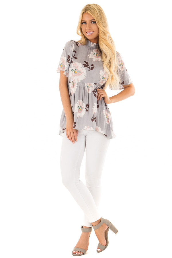 Steel Grey Floral Print High Neck Blouse front full body