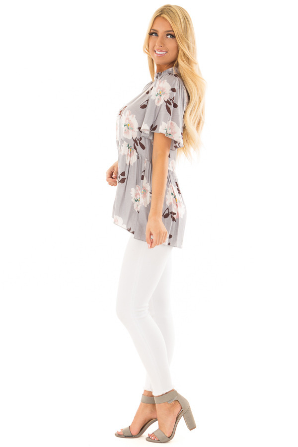 Steel Grey Floral Print High Neck Blouse side full body