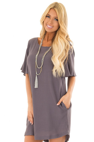 Slate Grey Ruffle Sleeve Dress with Hidden Pockets front close up