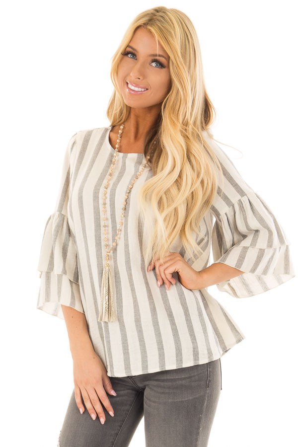 Oatmeal and Grey Striped Top with Tiered Bell Sleeves front close up