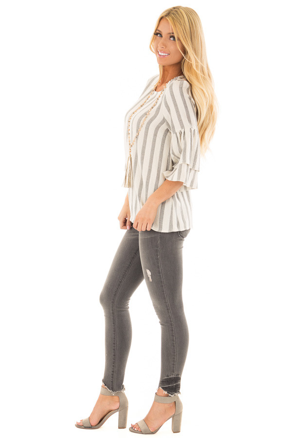 Oatmeal and Grey Striped Top with Tiered Bell Sleeves side full body