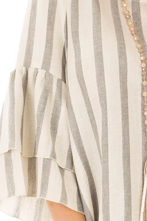 Oatmeal and Grey Striped Top with Tiered Bell Sleeves detail