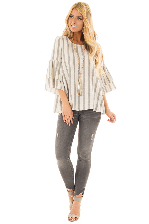 Oatmeal and Grey Striped Top with Tiered Bell Sleeves front full body