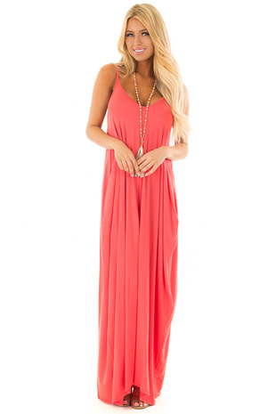 Coral Maxi Cocoon Dress with Side Pockets front full body