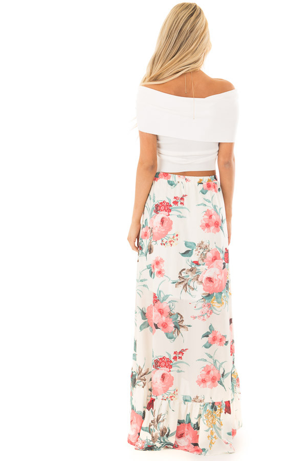 Off White Wrap Style Off the Shoulder Crop Top detail