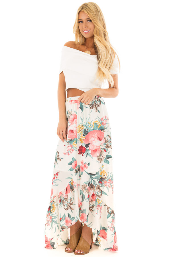 Off White Wrap Style Off the Shoulder Crop Top front full body