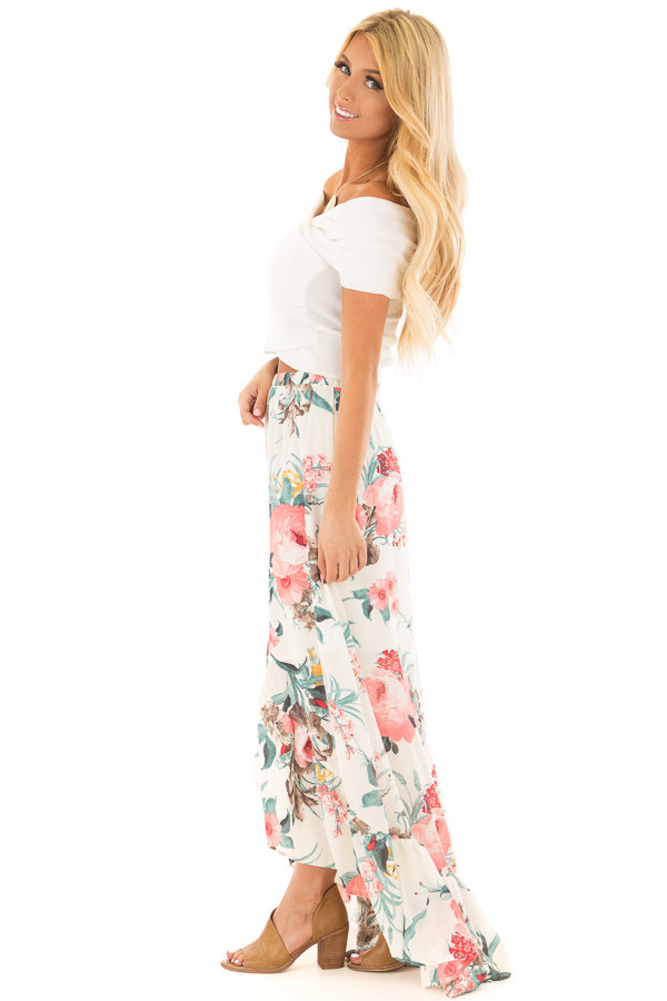 Off White Wrap Style Off the Shoulder Crop Top side full body