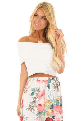 Off White Wrap Style Off the Shoulder Crop Top front close up